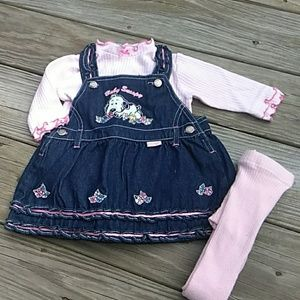 Baby Snoopy Jean overall dress set  Size 6/9M